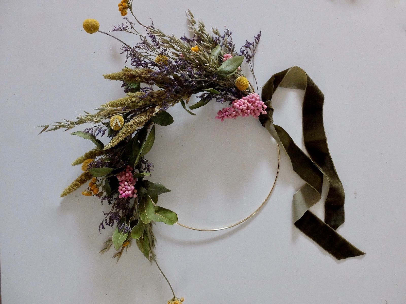 colourful dried flower wreath